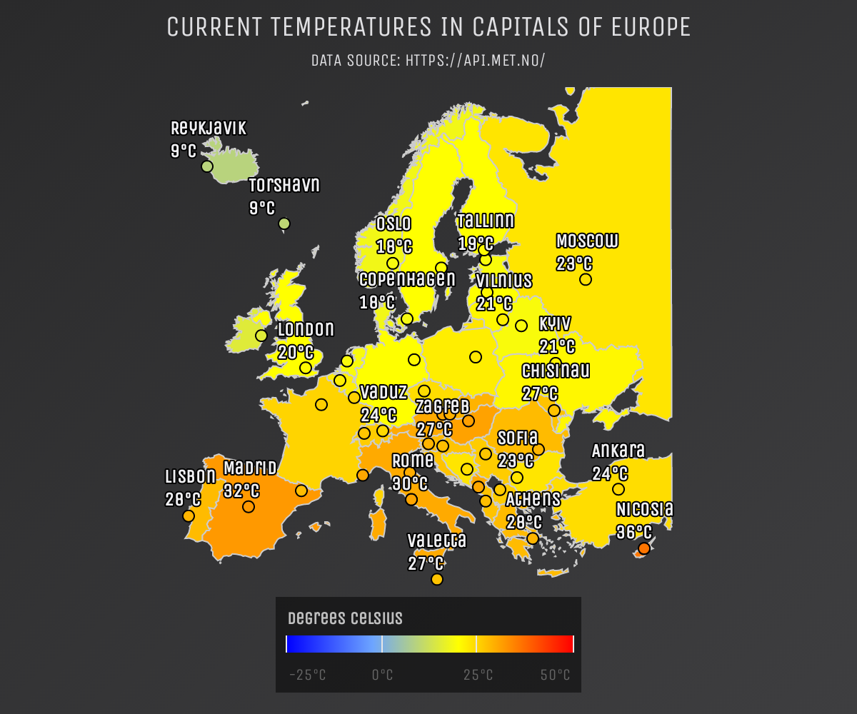Screenshot of 'Current temperatures in capitals of Europe' demo