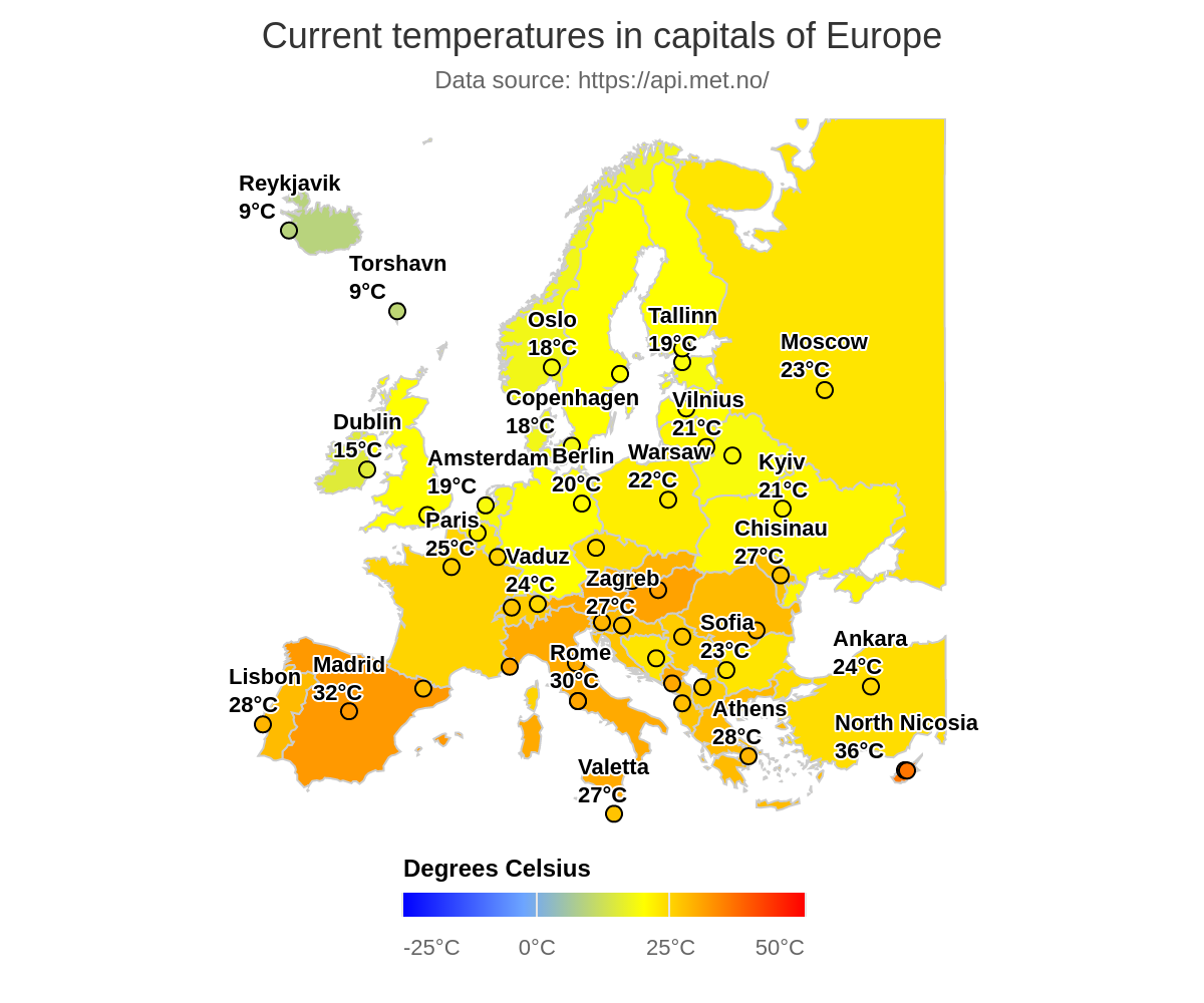 Picture of: Current Temperatures In Capitals Of Europe Highcharts Com