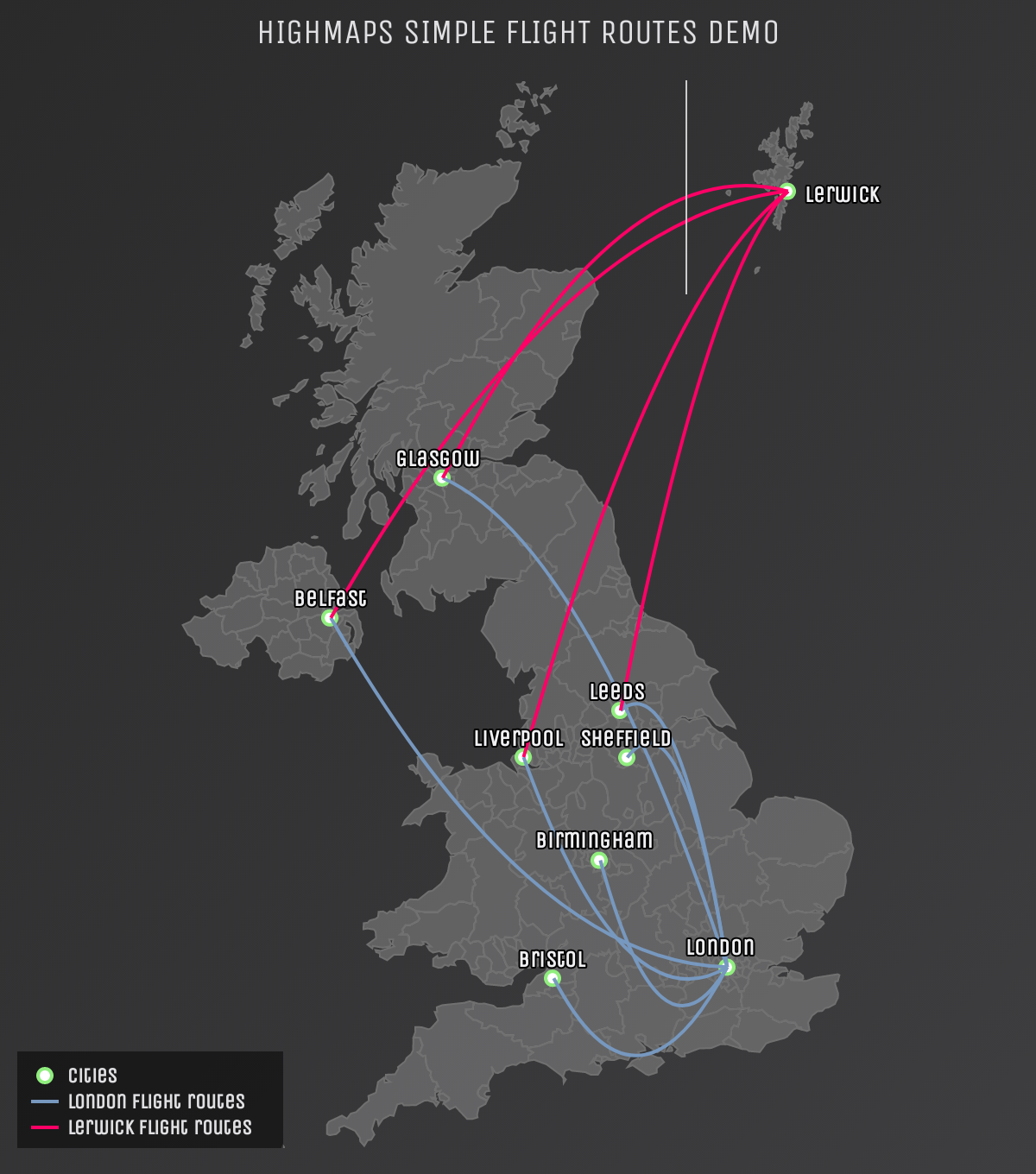 Screenshot of 'Simple flight routes' demo